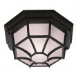 Black Hexagonal Flush Outdoor Light With White Sanded Glass