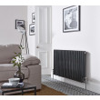 Hudson Reed Colosseum Triple Column Traditional Radiator High Gloss Black 600x1011