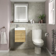Ashford Cloakroom Natural Oak 400 Wall Hung Vanity Unit with Albury Short Projection Toilet and Seat