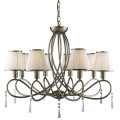 Simplicity 8 Arm Antique Brass Ceiling Light With White String Shades