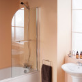 Curved Top Hinged Straight Bath Shower Screen with Towel Rail