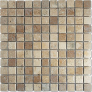 Antique White & Brown Tumbled Mosaic