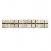 White Travertine Tumbled Mosaic Border