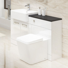 Cuba Firuza Left Hand Combination Unit with Black Worktop