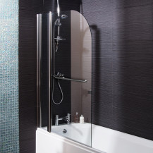 Curved Top Hinged Straight Double Bath Shower Screen with Towel Rail