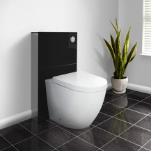 Black Deluxe WC Unit and Concealed Cistern with Venus Back to Wall Toilet
