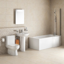 Dee Right Hand P Shape Shower Bath Suite