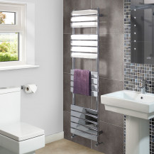 Lorenzo Beta Heat 1600 x 450mm Flat Chrome Heated Towel Rail