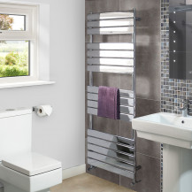 Lorenzo Beta Heat 1600 x 600mm Flat Chrome Heated Towel Rail