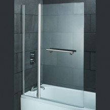 Straight Top Hinged Double Straight Bath Shower Screen with Towel Rail