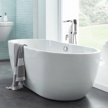 Lisbon 1650 x 750 Luxury Freestanding Bath Plus Free Elda Square Floor Standing Bath Shower Mixer