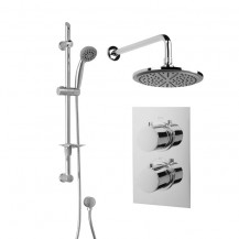Rina Slide Shower Rail Kit with EcoS9 Dual Valve, 200mm Head & Wall Outlet