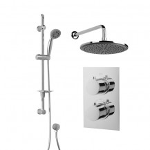Rina Slide Shower Rail Kit  with EcoS9 Dual Valve, 250mm Head & Wall Outlet