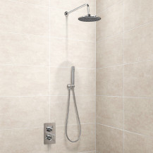 EcoStyle Dual Valve with Handset, 200mm Shower Head, Wall Arm & Outlet Elbow