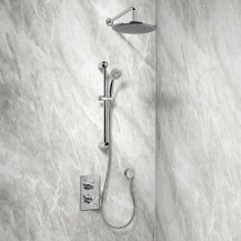 Rina Slide Shower Rail Kit with EcoStyle Dual Valve, 250mm Head & Wall Outlet