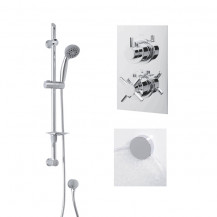 Rina Slide Shower Rail Kit with EcoStyle Dual Valve, Wall Outlet, Filler & Overflow