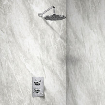EcoStyle Dual Valve with 200mm Shower Head, Wall Arm, Filler & Overflow