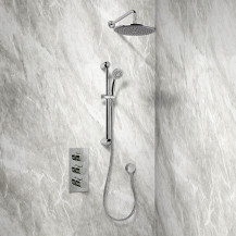 Rina Slide Shower Rail Kit with EcoS9 Triple Valve, 250mm Head, Wall Outlet,  Filler & Overflow