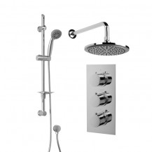 Rina Slide Shower Rail Kit with EcoS9 Triple Valve, 200mm Head, Wall Outlet,  Filler & Overflow