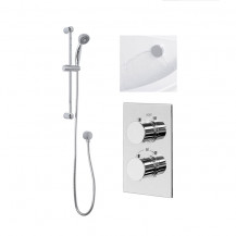 Rina Slide Shower Rail Kit with EcoS9 Dual Valve, Wall Outlet, Filler & Overflow