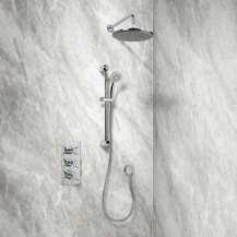 Rina Slide Shower Rail Kit with EcoStyle Triple Valve, 250mm Head, Wall Outlet, Filler & Overflow