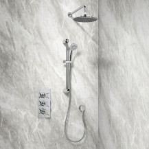 Rina Slide Shower Rail Kit with EcoStyle Triple Valve, 200mm Head, Wall Outlet, Filler & Overflow