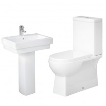 Modena Close Coupled Toilet & Turin Full Pedestal Two Piece Suite