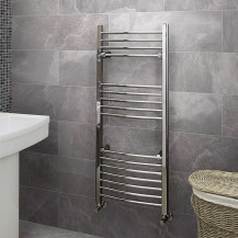 Eco Heat 1200 x 500mm Curved Chrome Heated Towel Rail