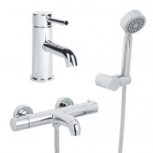 Focus Wall Mounted Bath Shower Mixer, Circo Handset and Focus Basin Mono