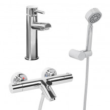 Peru Wall Mounted Bath Shower Mixer, Circo Handset and Peru Basin Mixer