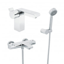 Vitalia Wall Mounted Bath Shower Mixer with Rail Kit and Doriano Basin Mixer