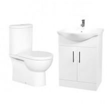 Rovigo Toilet & 65 White Vanity Basin Unit