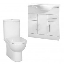 Rovigo Toilet & 75 White Vanity Basin Unit