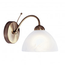 Milanese Antique Brass Wall Light With Alabaster Glass
