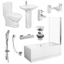 Tabor™ 1700 Shower Bath Veneto Two Piece Suite with Taps & Waste