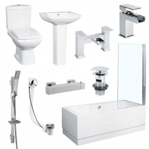 Tabor™ 1700 Shower Bath Revive Two Piece Suite with Taps & Waste
