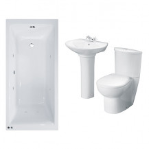 Carona 1700 Whirlpool Bath with Prima Two Piece Suite inc Taps & Waste