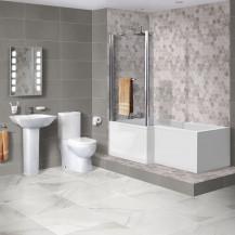 1675mm Shower Bath with Veneto Two Piece Suite inc Taps & Waste