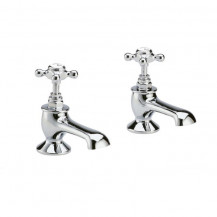 Hudson Reed White Topaz Crosshead Basin Taps with Hexagonal Collar