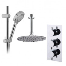 Neptune Slide Shower Rail Kit with S9 Triple Valve, Wall Outlet, Rotondo Head & Ceiling Arm