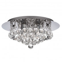 Hanna 4 Chrome Clear Crystal LED Ceiling Light
