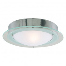 Chrome Flush Ceiling Light With Frosted Glass