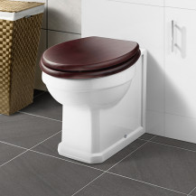Park Royal ™ Back to Wall Toilet with Sit Tight Mahogany Effect Solid Wood Toilet Seat with Chrome Hinges
