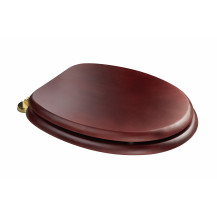Sit Tight Douglas Mahogany Effect Solid Wood Toilet Seat with Brass Hinges