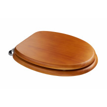 Sit Tight Douglas Antique Pine Effect Solid Wood Toilet Seat with Chrome Hinges