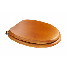 Sit Tight Douglas Antique Pine Effect Solid Wood Toilet Seat with Brass Hinges