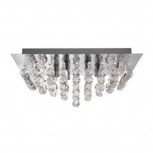 Hanna Square 6 Chrome Clear Crystal Ceiling Light