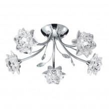 Bellis 5 Arm Chrome Glass Flower Ceiling Light