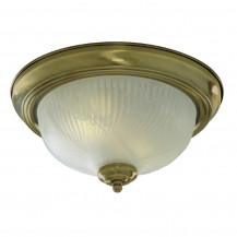 Antique Brass Opaque Ribbed Glass Flush Ceiling Light
