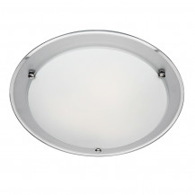 Mirrored Edge Frosted Flush Ceiling Light